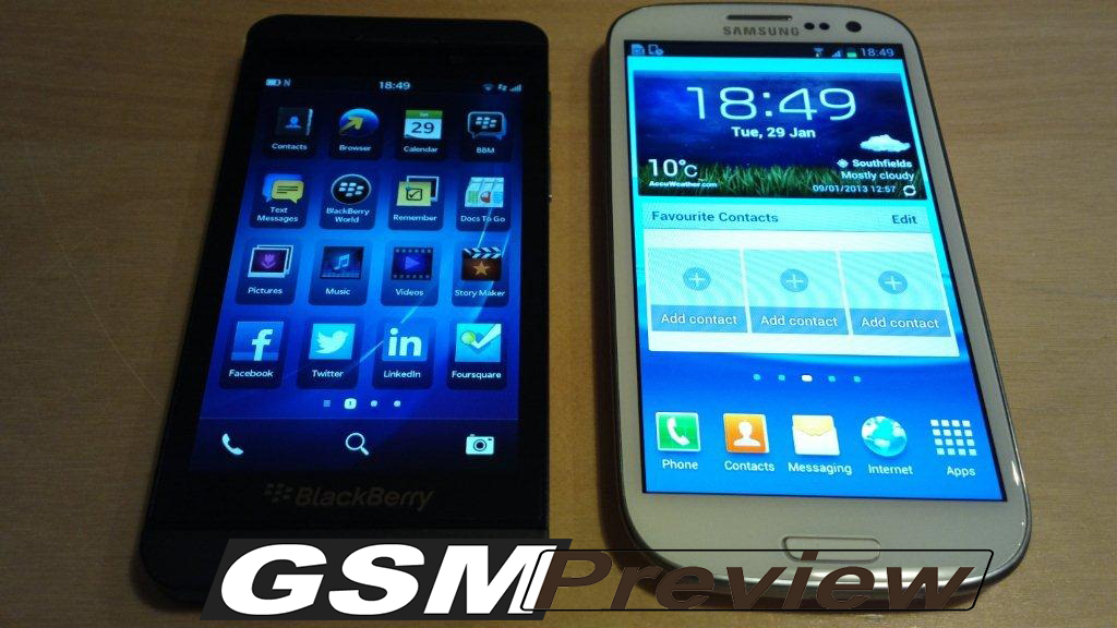 BlackBerry Z10 срещу Samsung Galaxy S3 – Видео