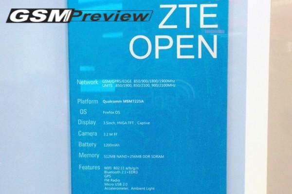 ZTE Open: налични са вече техническите параметри на първото устройство с операционна система Firefox OS![MWC 2013]